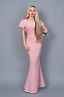 Шикарное вечернее платье в нежно розовом цвете и рукавами-воланами