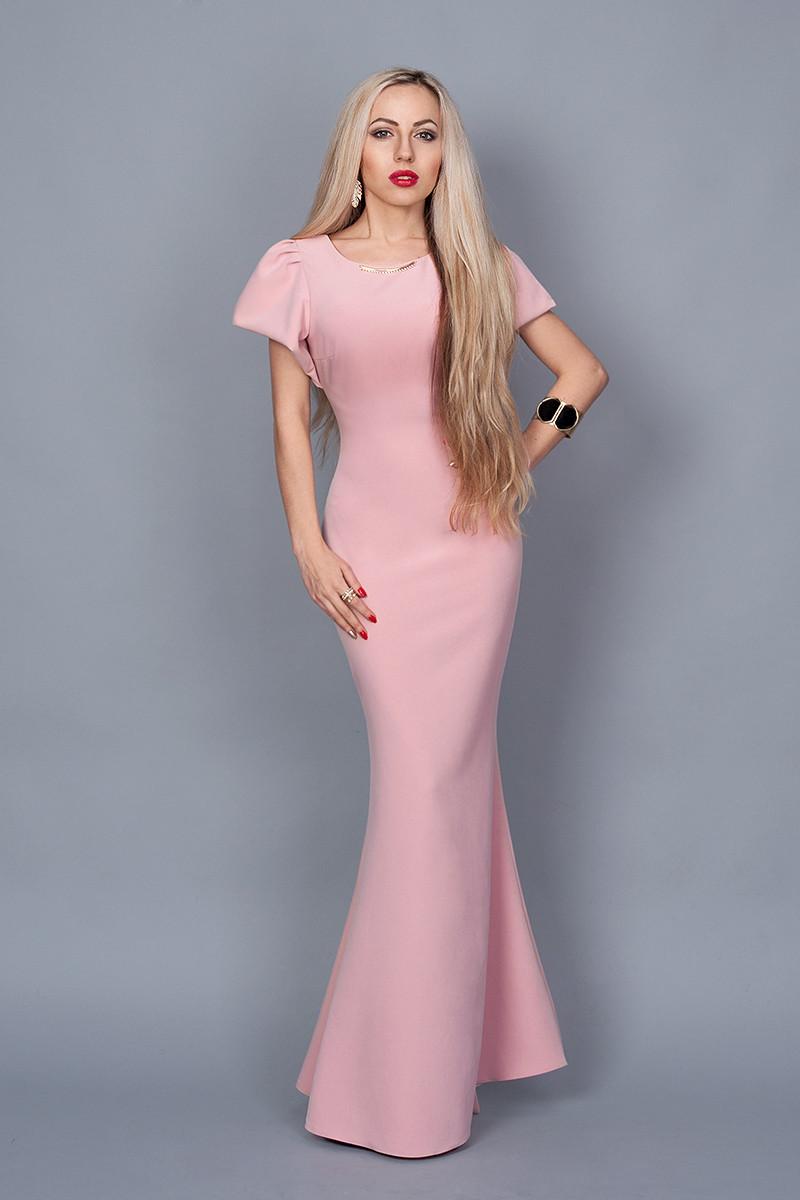 a20b804f631 Шикарное вечернее платье в нежно розовом цвете и рукавами-воланами ...