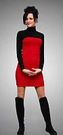 Платье мини красное с черным