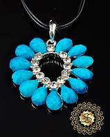 Женская подвеска голубая Сердце