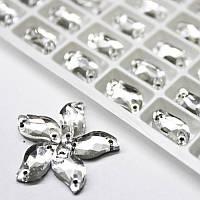 Пришивные стразы (имитация сваровски)30x15мм Crystal