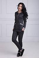 Модный спортивный костюм кофта на молнии и карманы-обманки с зауженными брюками