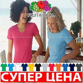 Женская футболка с v-образным вырезом 100% хлопок 61-398-0