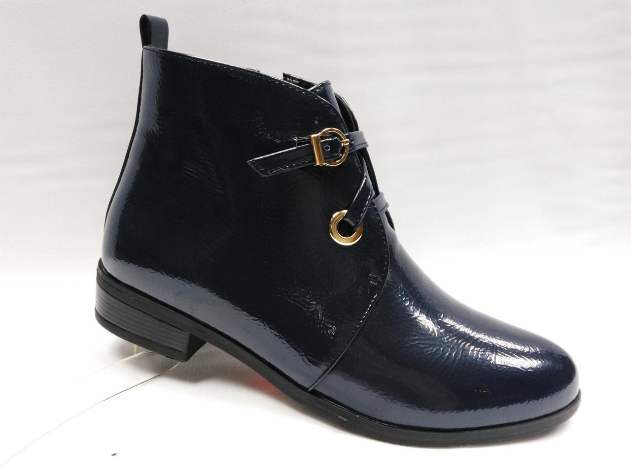 Темно-синие ботинки. Маленькие размеры.