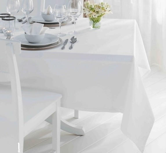 Скатерть для стола 140х140см, однотонная белая
