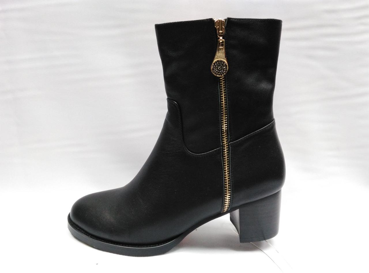 Черные кожаные сапожки с широким голенищем Erisses.Большие размеры.