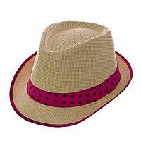 Женская шляпа малиновая полоска