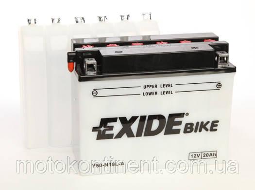 Акумулятор для мотоцикла сухозаряженный EXIDE Y50-N18L-A 20AH 205X90X162