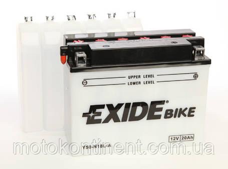 Акумулятор для мотоцикла сухозаряженный EXIDE Y50-N18L-A 20AH 205X90X162, фото 2