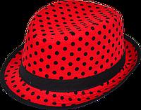 Шляпа детская челентанка комби черный горох на красном