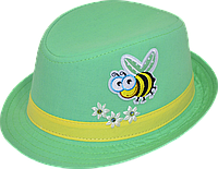Шляпа детская челентанка пчелка на зеленом
