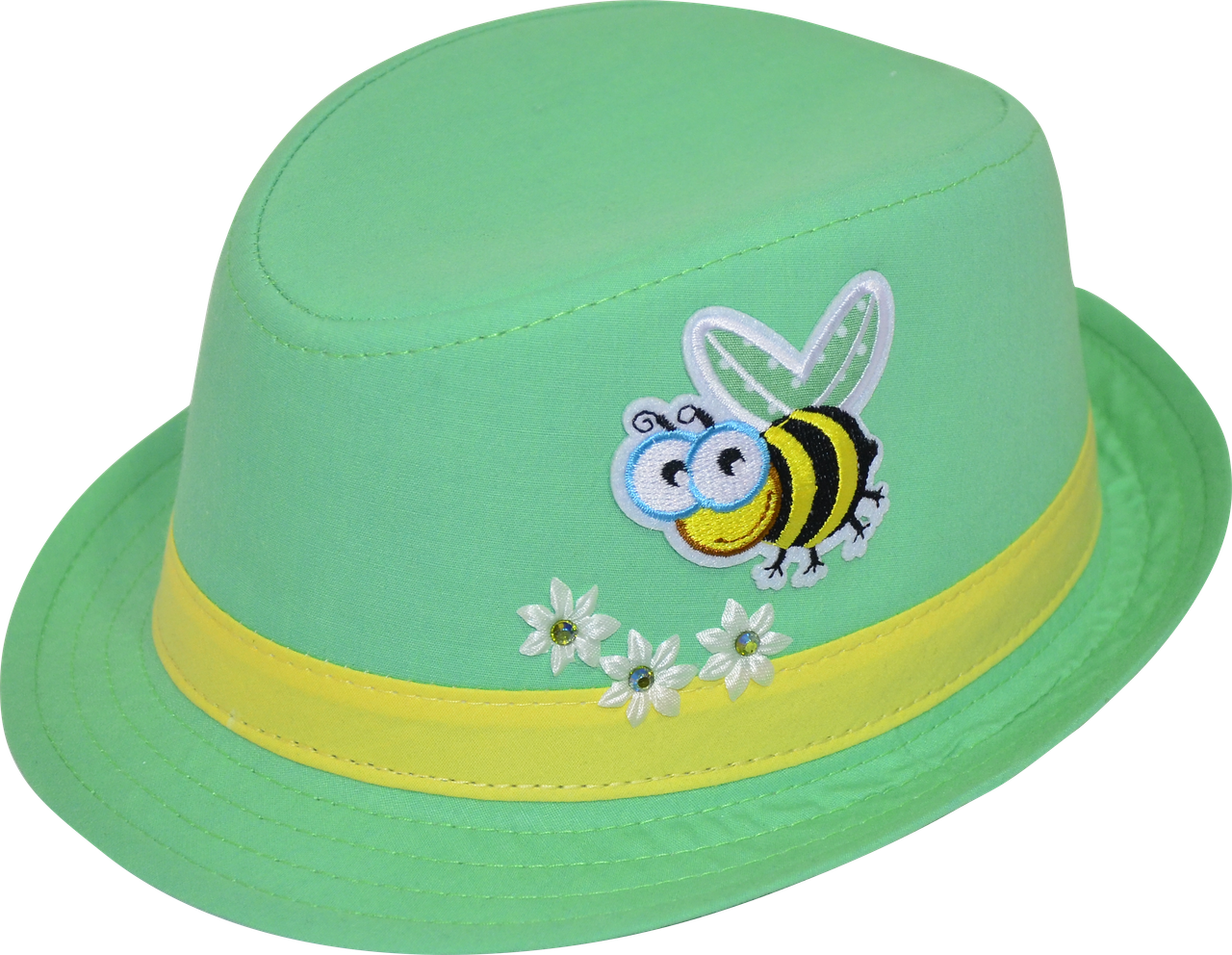 Шляпа детская челентанка нашивка пчелка на зеленом