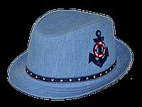 Шляпа детская челентанка нашивка якорь