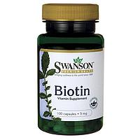 Витамины Biotin Swanson Биотин 5мг 100 капсул