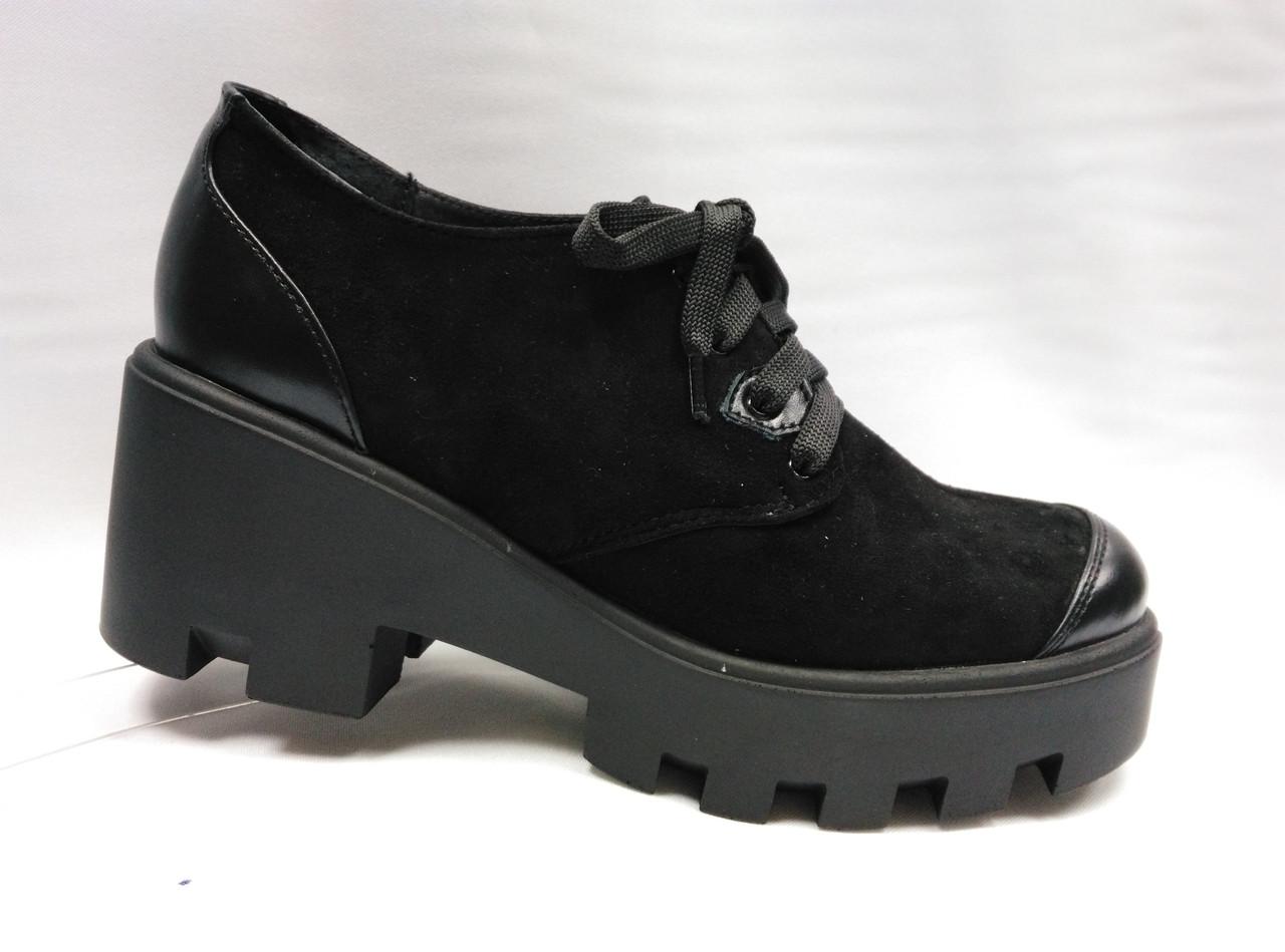 Туфли черные  на толстой подошве со шнурками .Украина.