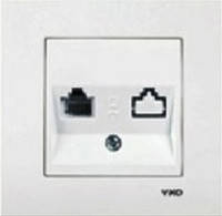 Розетка VI-KO Karre одинарная компьютерная (витая пара) белая