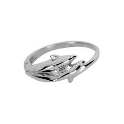 Кольцо  женское серебряное Два Дельфина № 120