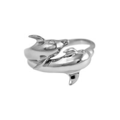 Кольцо  женское серебряное Два Дельфина с камнями 60569