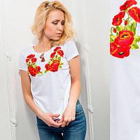 """Жіноча вишита футболка """"Маки"""" біла"""