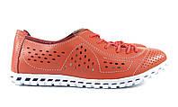 Коралловые спортивные мокасины на шнурках