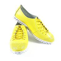 Женские весенние желтые спортивные мокасины