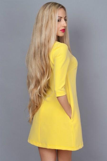 Молодежное платье желтое