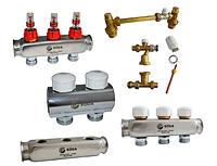Коллекторная группа с запорным и термостатическим клапаном Roda 3вых.