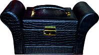 Кейс для украшений фигурный раскладной чёрный KS-045 YRE, красивая шкатулка для украшений из кож.заменителя