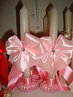 """Свечи для мам тонкие на подставке """"Бантик"""" розовые"""