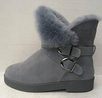 Ботинки женские зимние натуральная замша синие с меховой опушкой