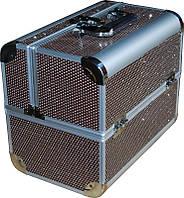 Чемодан мастера с камнями металлический раздвижной СМ-2629 YRE, чемодан для визажа