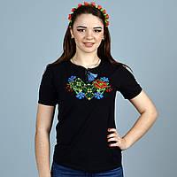 Трикотажная футболка с украинской вышивкой крестиком