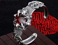 Мужской серебряный браслет Когти и Сердце Дракона