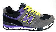Кроссовки стильные серые с фиолетовым New Balance NB0008