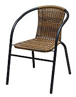 Садовый стул со спинкой металлический  и искусственного ротанга