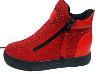 Ботинки женские весенние на замке красные KF0222