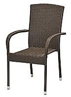 Садовый стул коричневый стальной и искусственного ротанга