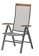 Садовое кресло складное с поддлокотниками из стали и хардвуда