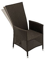 Садовое кресло с подвижной спинкой плетенное коричневое из искуственного ротанга