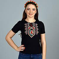 Традиционная украинская футболка вышиванка Галинка  с маками и орнаментом