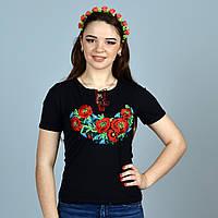 Модная трикотажная футболка маки алые машинная вышивка