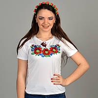Праздничная футболка вышиванка Соломия в белом цвете с красными маками