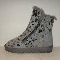 Ботинки - криперсы женские серые  натуральная замша