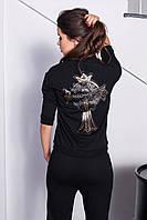 Костюм женский спортивный штаны и куртка с нашивкой
