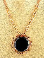 Черный кулон медальон на цепочке