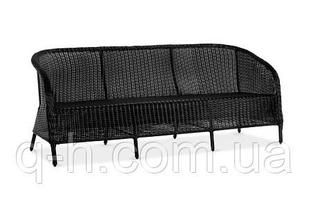 Диван плетеный Mexico из искусственного ротанга черный, фото 2