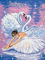 Раскраски по номерам 30×40 см. Лебеди и балерина