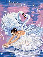Раскраски по номерам 30×40 см. Лебеди и балерина, фото 1
