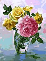 Раскраски для взрослых 30×40 см. Букет с розовым пионом Художник Игорь Бузин