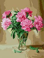 Раскраски для взрослых 30×40 см. Пионы в стеклянной вазе Художник Эдуард Жалдак